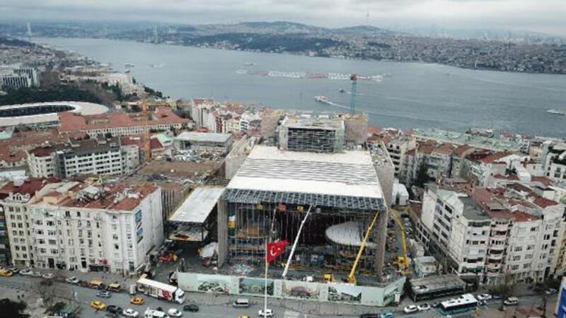 Atatürk Kültür Merkezi'nde son durum havadan görüntülendi