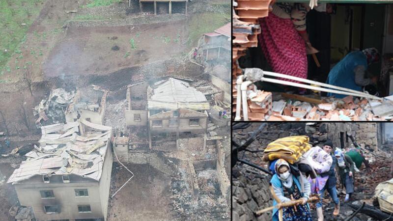 Araklı'da 7 evin yandığı yangının ardından aileler, enkazda eşyalarını aradı