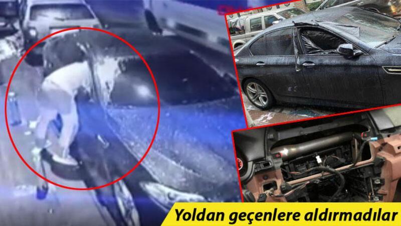 İstanbul'da camı kırıp girdikleri otomobilin 65 bin TL değerindeki elektronik cihazlarını böyle çaldılar