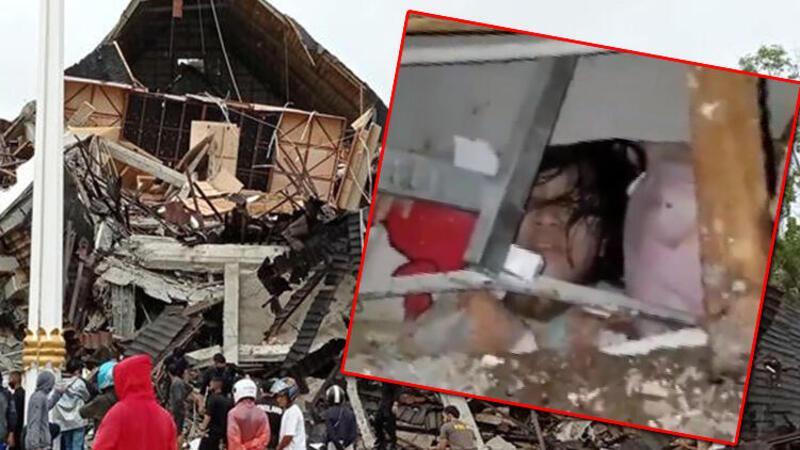 Endonezya'da 6.2 büyüklüğündeki deprem anı kamerada