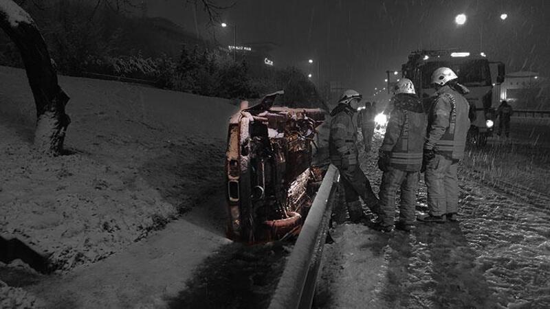 Sürücünün takla atan otomobilini kilitleyip eve gittiği öğrenildi