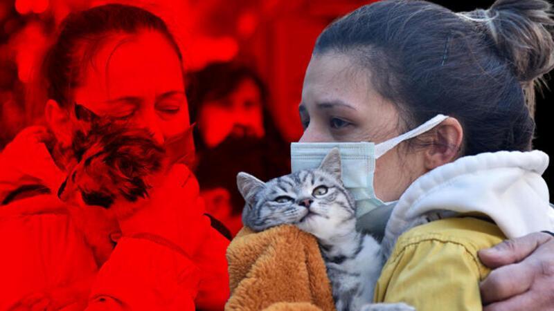 Yangında mahsur kalan kedisine kavuşunca gözyaşlarını tutamadı