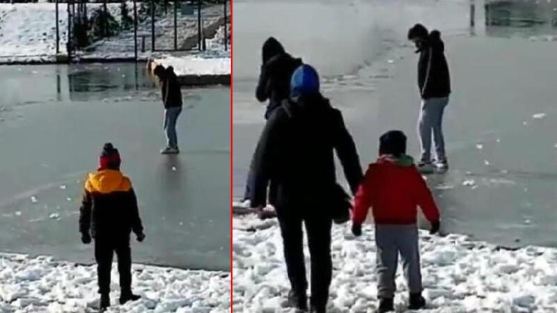 Vatandaşlar buz tutan Nilüfer Çayı'nın üzerinde yürüdü