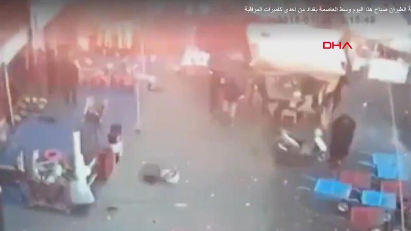 Irak'ın başkenti Bağdat'ta iki patlama meydana geldi! Patlama anına ilişkin yeni görüntüler
