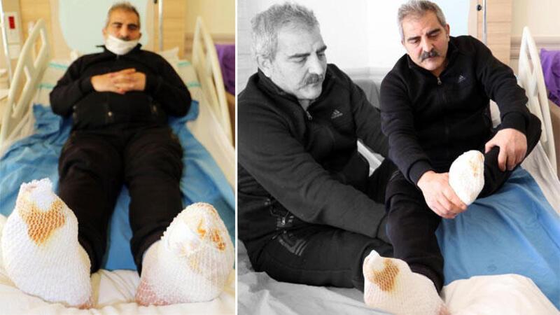 Erzurum'da kamyon şoförünün araçtayken ayakları dondu