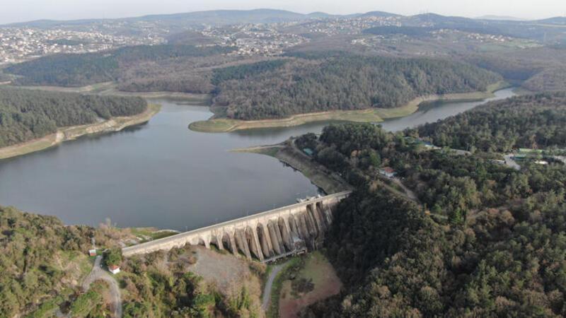 İstanbul'da doluluk oranı yüzde 38'e çıkan Elmalı Barajı havadan görüntülendi