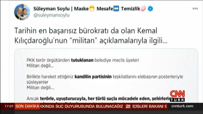 İçişleri Bakanı Süleyman Soylu, Kılıçdaroğlu hakkında suç duyurusunda bulunacağını ifade etti