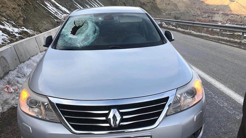 Kaya parçası otomobilin üzerine düştü, muhtar yaralandı