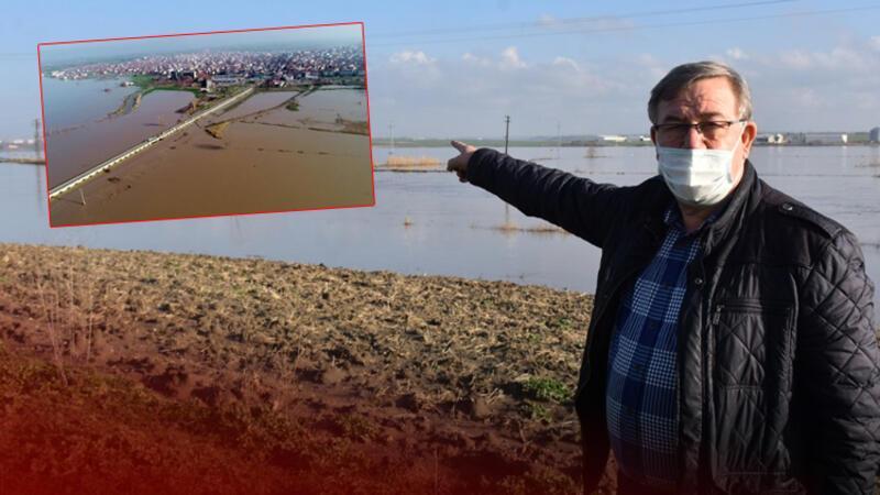 'Turuncu alarm' verilen Ergene Nehri taştı