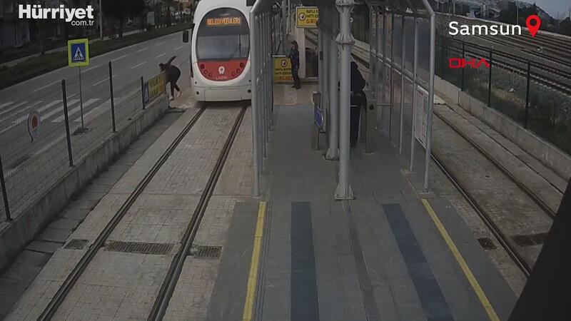 Samsun'da meydana gelen tramvay kazaları kamerada