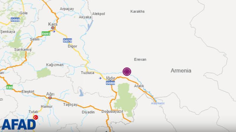Ermenistan'daki 4.7 büyüklüğündeki deprem Iğdır'da da hissedildi