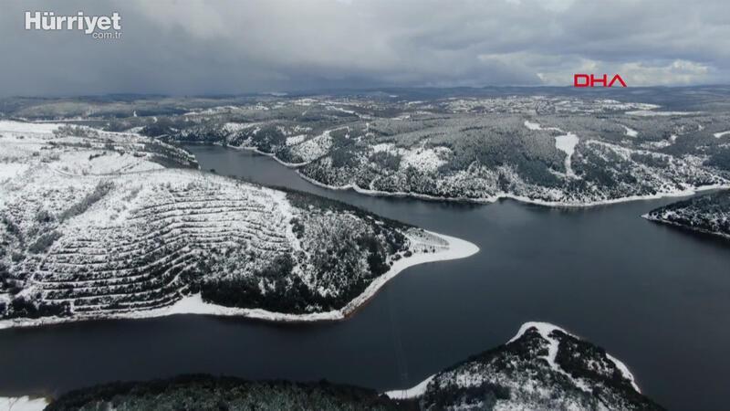 Alibeyköy Barajı'nda son durum havadan görüntülendi