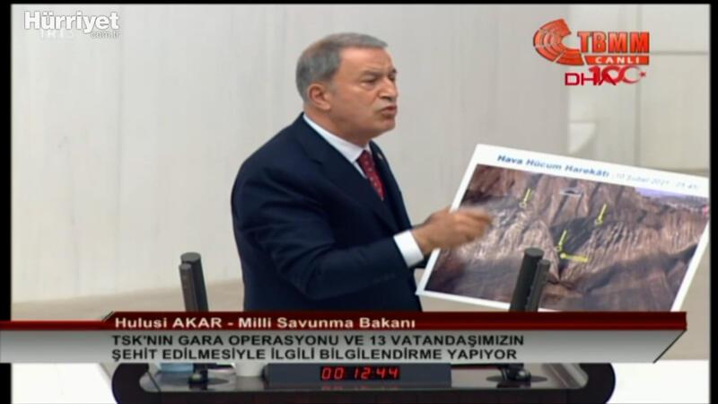 Milli Savunma Bakanın Hulusi Akar, TBMM'de Gara operasyonun detaylarını anlattı