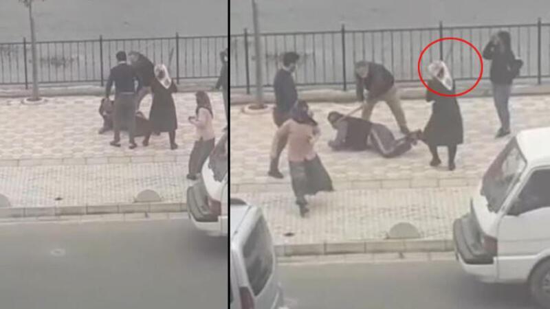 Giresun'da biri kadın 2 kişinin, yere yatırdıkları kişiyi sopayla dövdüğü anlar kamerada