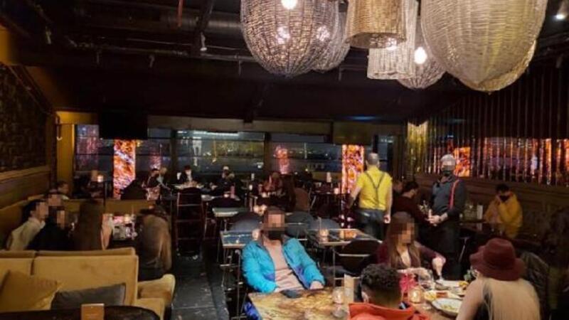 Şişli'de kısıtlama kurallarını ihlal eden restorana baskın anı