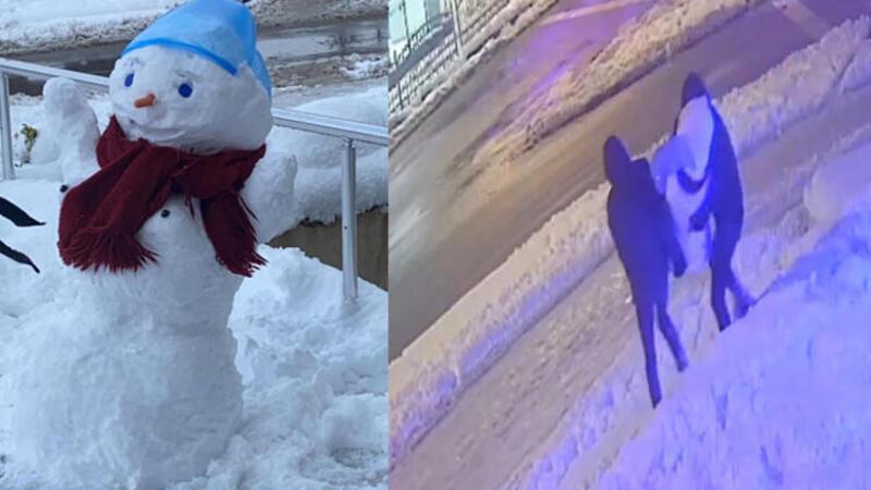 Şaşkına çeviren görüntüler! Kardan kadını kucaklayıp böyle götürdüler