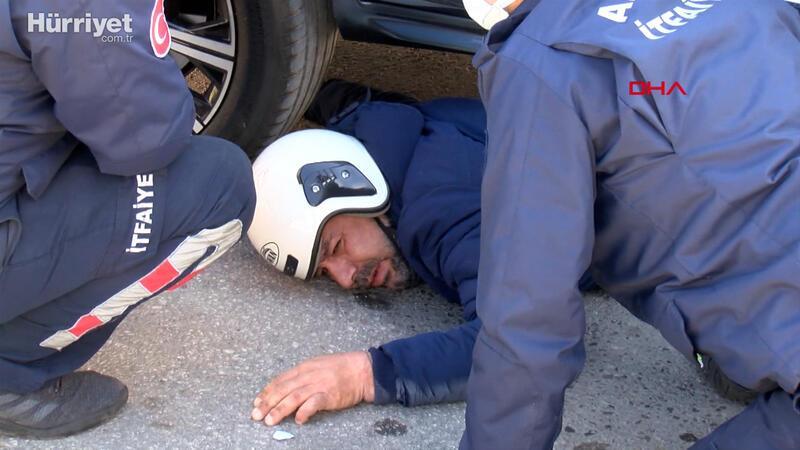Ters yönden seyreden motosiklet sürücüsü, lüks cipin altında kaldı
