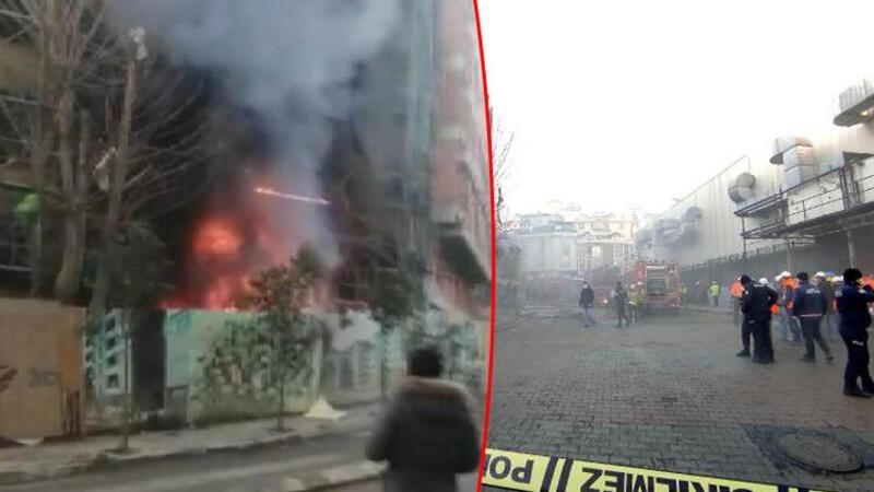Kağıthane'de inşaat şantiyesinde yangın; alevler binanın ön cephesini sardı