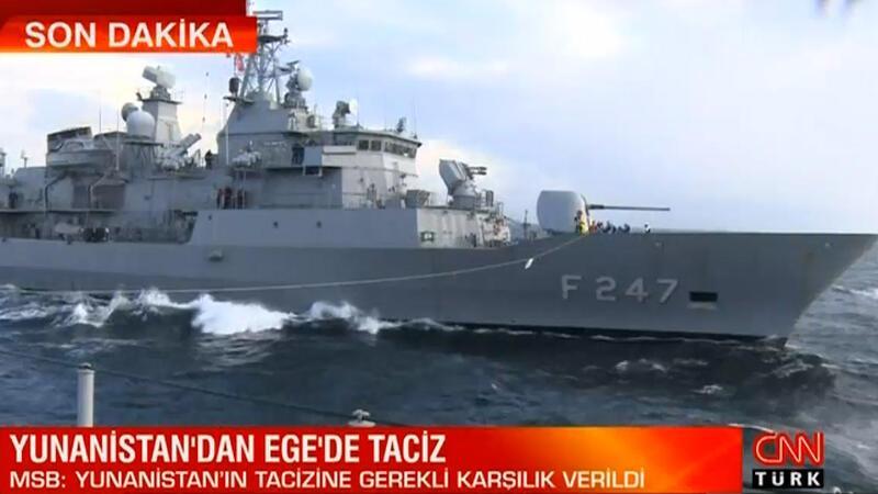 Yunan savaş uçaklarından Ege'de 'TCG Çeşme' gemisine taciz