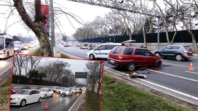 Maslak'ta kaza yapan araç trafiği kilitledi