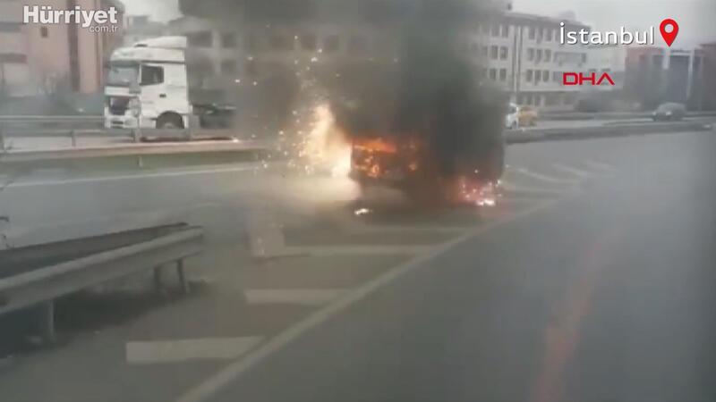 Avcılar Haramidere'de yanarak kayan araç korku saçtı