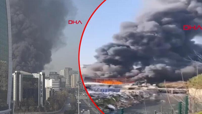 İstanbul Halkalı'da iş yerinde yangın