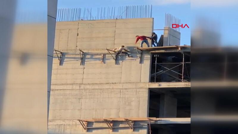 Sultangazi'de inşaat işçisinin hiçbir önlem almadan tehlikeli çalışması kamerada