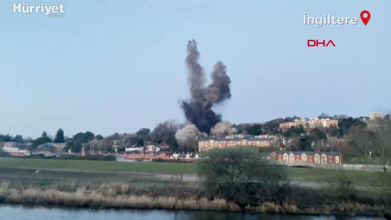 İngiltere'de İkinci Dünya Savaşı'ndan kalma bomba kontrollü bir şekilde patlatıldı
