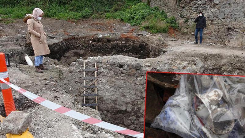 Trabzon'da otopark kazısında her yerden tarihi yapılar çıkıyor
