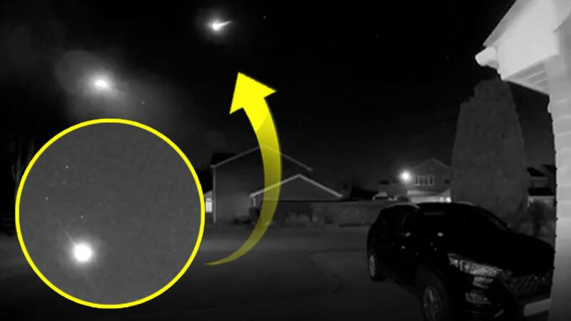 İngiltere'de dev meteorun düşüşü güvenlik kamerasına yansıdı