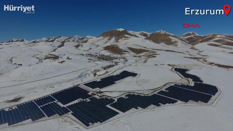 Karla kaplı araziye güneş enerji sistemi kuruldu