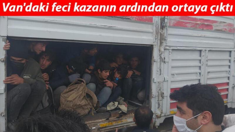 Van'da 1 kişinin öldüğü kaza sonrası TIR'dan balık istifi 114 kaçak göçmen çıktı