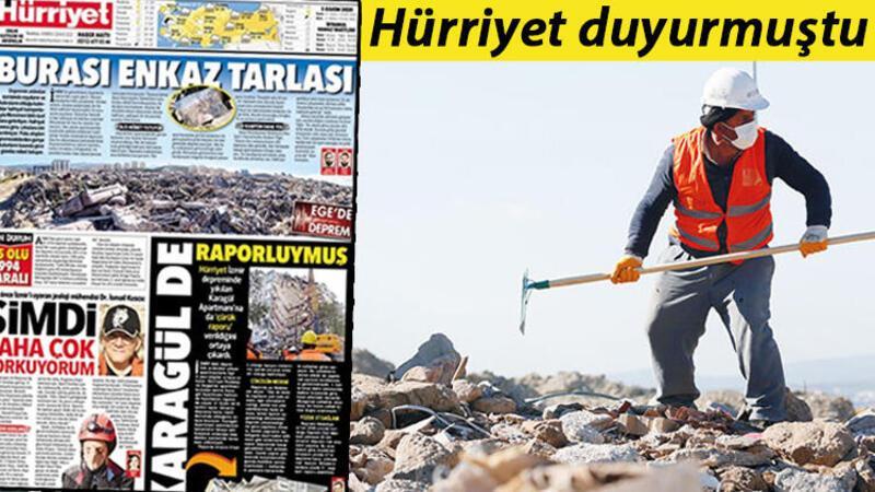 İzmir'de depremzedelerin eşyaları için moloz yığınları arasında hassas çalışma yürütüyorlar