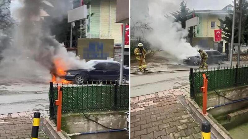 Ümraniye'de park halindeki otomobil alev alev yandı