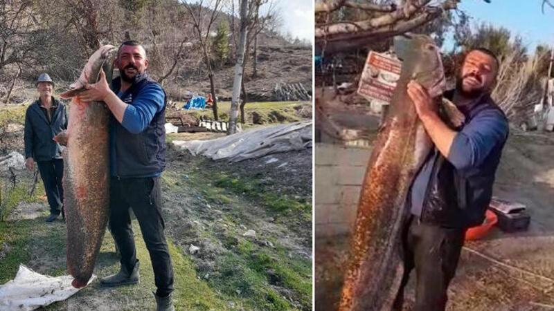 Burdur'da baraj gölünden 47 kiloluk yayın balığı yakaladı