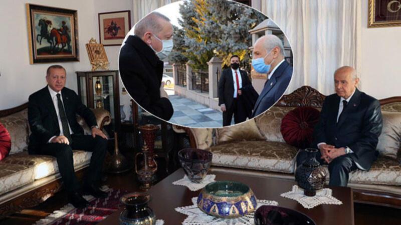 Cumhurbaşkanı Erdoğan, MHP Genel Başkanı Bahçeli'yi evinde ziyaret etti