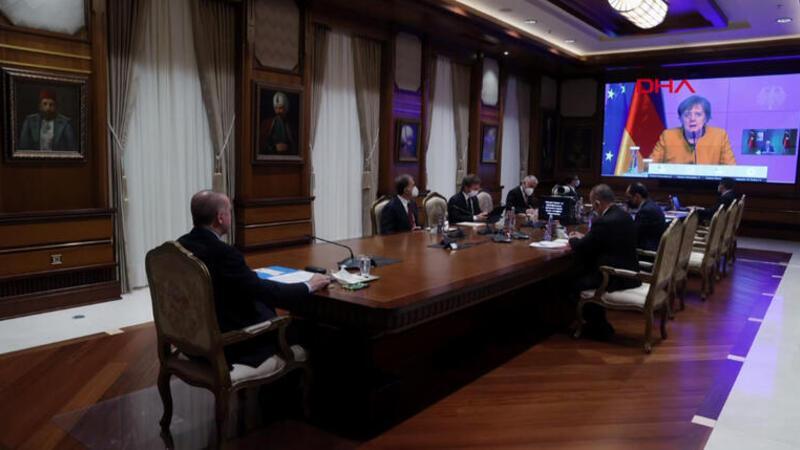 Cumhurbaşkanı Erdoğan video konferans yoluyla Merkel ile görüştü