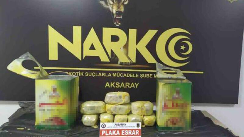 Aksaray'da 8 kilo esrarı yağ tenekelerine gizlemişler