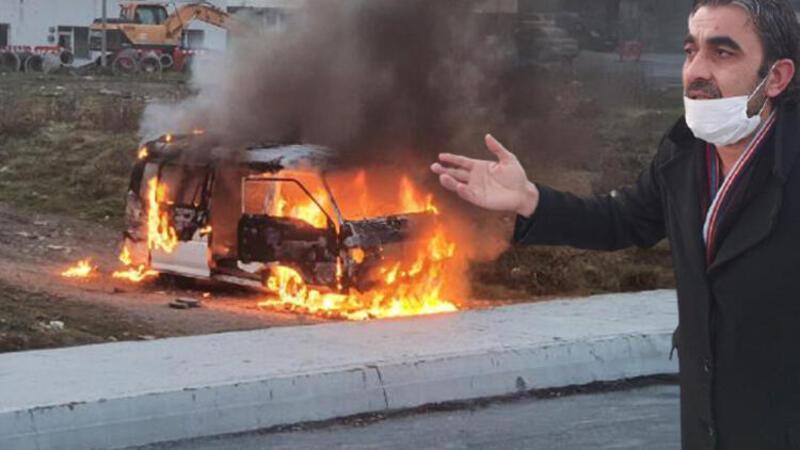 Çocuklarını göstermiyor diye eşiyle kaynanasına kızdı, kendi minibüsünü yaktı