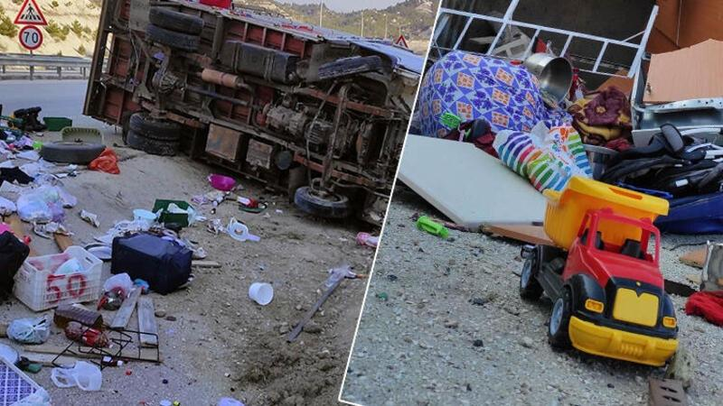 Yoldan çıkan kamyonet devrildi; Anne öldü, eşi ve 3 aylık bebekleri yaralandı
