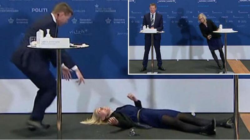 Danimarka'da İlaç Dairesi Müdürü basın toplantısı sırasında bayıldı