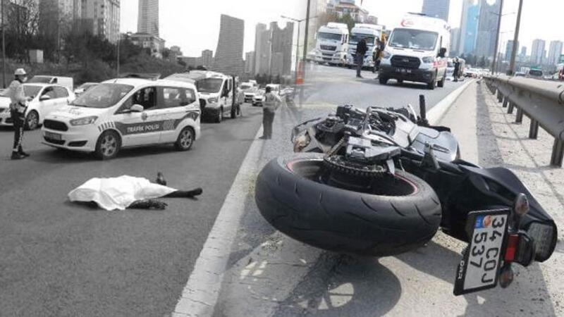 TEM'de feci motosiklet kazası! Metrelerce sürüklenen sürücü hayatını kaybetti