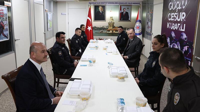 Cumhurbaşkanı Erdoğan ve Bakan Soylu, polislerle iftar yaptı