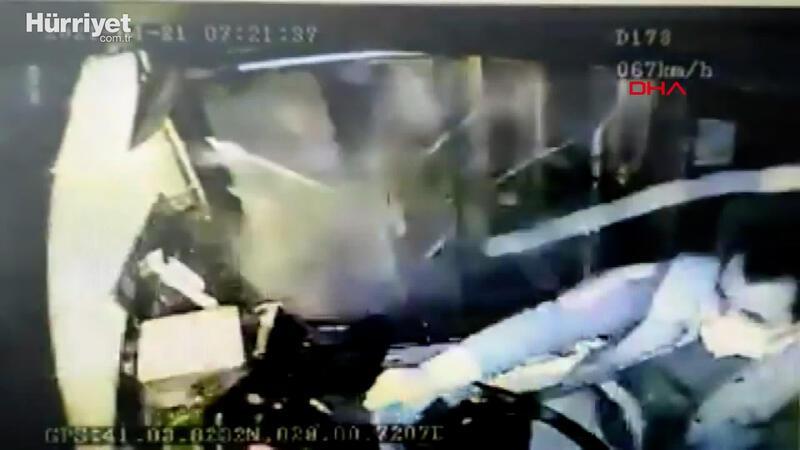 Beşiktaş'taki İETT otobüsünün kaza anı kamerada