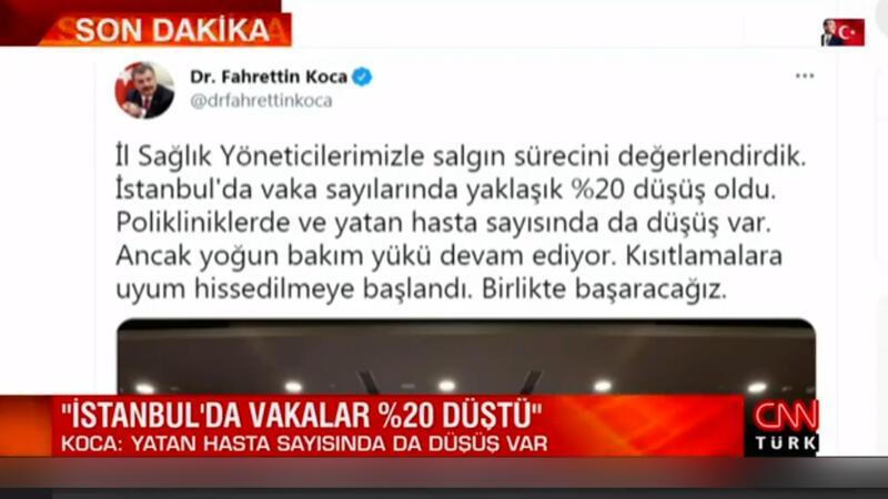 Sağlık Bakanı Fahrettin Koca, İstanbul'daki son durumu paylaştı