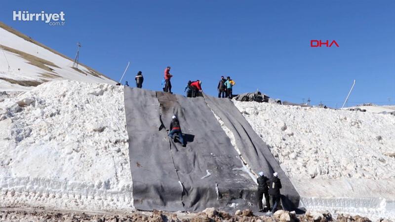 Palandöken'de 61 bin metreküp kar saklanacak