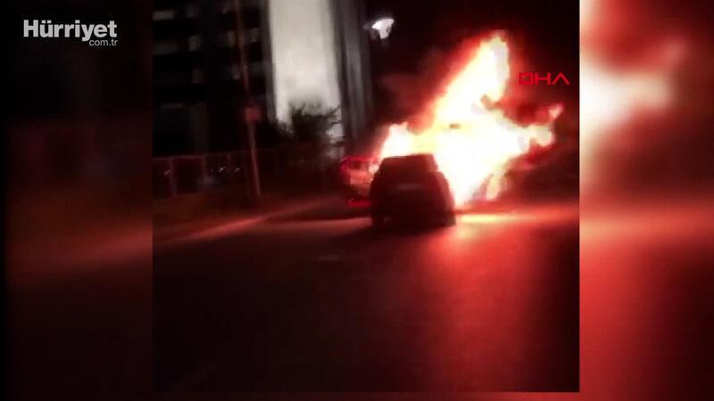 İsrail'i protesto için başkonsolosluk önünde aracını yaktı
