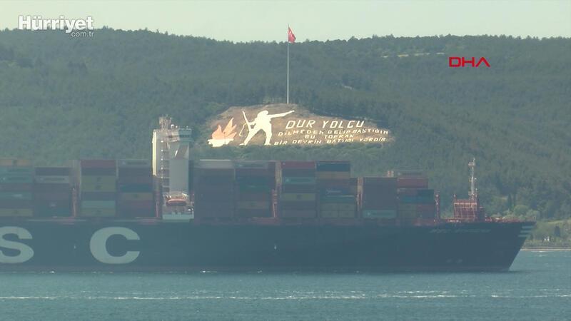 Çanakkale Boğazı, dev gemilerin geçişi için 9 saat tek yönlü trafiğe kapatıldı