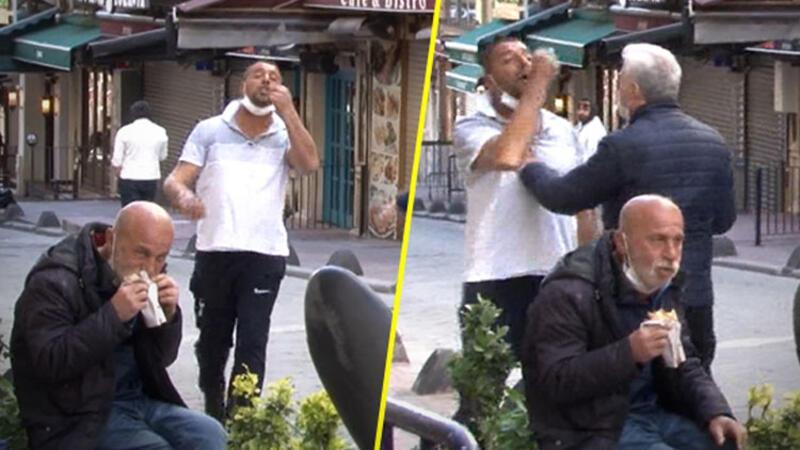 Taksim'de seyyar satıcı-zabıta arbedesini polis sonlandırdı; o aldırmadan dürümünü yemeye devam etti