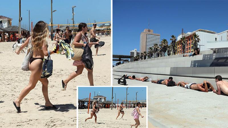 İsrail'de plajdaki halk sığınaklara böyle koştu